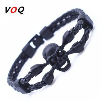 Black Friday Vintage Black Skull Bracelets Bangles Hand Made Top Quality Leather Skeleton Bracelet Men Jewelry pulseras hombre