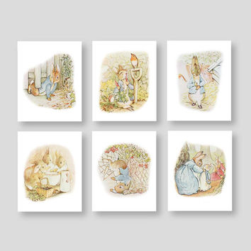 Peter Rabbit Wall Decor Beatrix Potter Nursery Baby Boy Girl Storybook Bedroom Bathroom Shower Tale Playroom Decor by YassisPlace (PR-001)