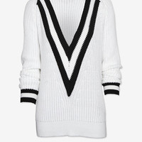 rag & bone Talia Deep V Varsity Sweater | Shop IntermixOnline.com