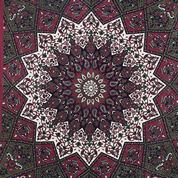 Star Hippy Tapestries Elephant Mandala Tapestry Hippie Bohemian Wall Hanging Boho college Dorm Beach Throw Queen Cotton Bedsheet Wall Art Decor by Plush Decor