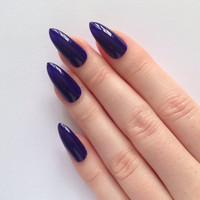 Indigo Stiletto nails, Nail designs, Nail art, Nails, Stiletto nails, Acrylic nails, Pointy nails, Fake nails