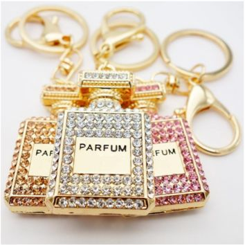 Crystal perfume bottle keychains
