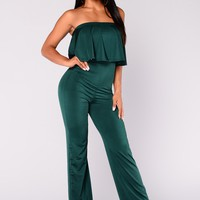 Reflection Flounce Jumpsuit - Hunter Green