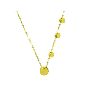 "Engravable Sliding Gold Discs Necklace in Sterling Silver 16"" + 2"" extension"