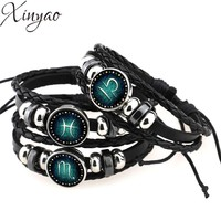 Astrological Sign Braided Leather Bracelet for Men or Women