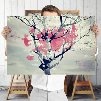 Whimsical Tree Art Print - Red and Blue Nature Wall Art, Digital Download | Bohemian Decor by Mila Tovar