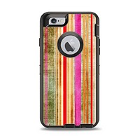 The Smudged Pink Painted Stripes Pattern Apple iPhone 6 Otterbox Defender Case Skin Set