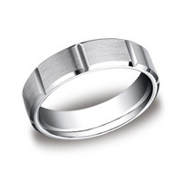 Benchmark 6 MM 10K White Gold Comfort Fit Men's Carved Wedding Band With Satin Finish