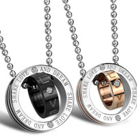 Circle stainless steel diamond necklace sets