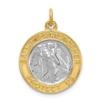925 Sterling Silver Rhodium-Plated and Gold-plated St. Christopher Medal