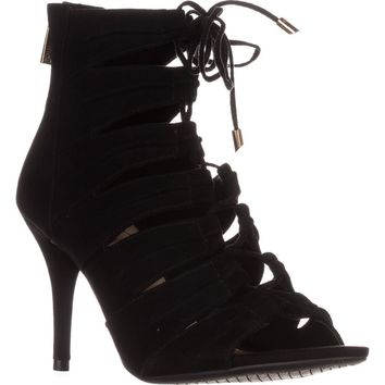 Jessica Simpson Mahiri Gladiator Ankle Booties, Black Suede, 7.5 US / 37.5 EU