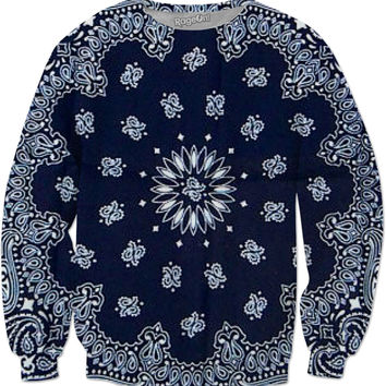 Navy Blue Paisley Sweatshirt