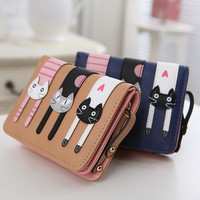 2016 New Fashion Cat High-quality Leather Wallet Women Cartoon three little kittens Short Wallets Candy Colors Women Coin Purses