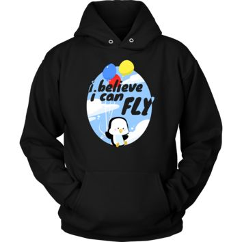 I Believe I can Fly Funny Penguin Balloon Hoodie