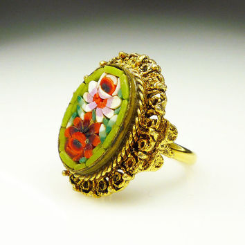 Vintage Ring Micromosaic Chunky Floral Retro Statement Jewelry