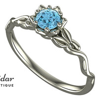 Flower Engagement Ring,Unique Engagement Ring,diamond Engagement Ring,Leaves,Aquamarine Engagement Ring,lotus,floral,swirl,White gold Ring
