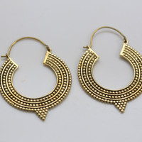 Ethnic Tribal Brass Hoop Earrings