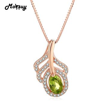 MoBuy MBNI058 Green Leaf Natural Gemstone Peridot Necklace & Pendant 925 Sterling Silver Rose Gold Plated Fine Jewelry For Women