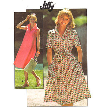 Vintage Sewing Pattern 70s A Line Tent Dress Fast Easy Uncut Small
