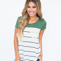 Olive Striped Lace Pocket Top