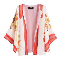 vintage women chiffon kimono floral print three quarter sleeves loose casual outerwear novelty clothing DNIM1