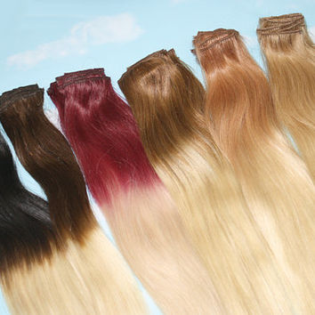 Handmade Bleached Tips, Ombre Hair Extensions, Human Hair, Colored Hair Extension Clip, Hair Wefts, Clip in Hair, Hair Extensions