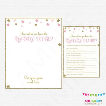 How well do you know the DADDY to be, Twinkle Twinkle Little Star Baby Shower Games, Printable Baby Shower, Pink and Gold, Download, STPG