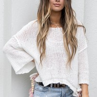 Still Spinning White Sweater With Beads - Amazing Lace