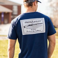 Shotguns Patch T-Shirt in Navy by Fripp & Folly - FINAL SALE