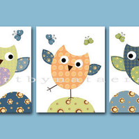 "Kids Wall Art,Baby Room Decor,Nursery print,set of 3 8"" x 10 Print,owls,birds,blue"