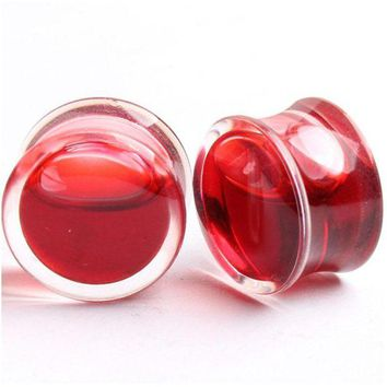 ac DCCKO2Q 1 Pair Hot Sell Blood Red Liquid Filled Ear Plugs Flesh Tunnels Gauge Saddle Ear Reamer Expander For Women Creative Body Jewelry