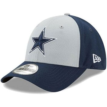 Men's Dallas Cowboys New Era Gray/Navy The League Block 9FORTY Adjustable Hat