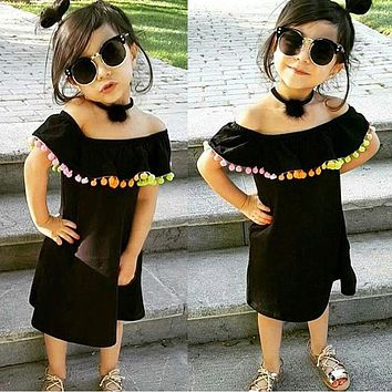Baby Girl Children Dress Tassels Princess Party Multi Colors Clothes Girls Ruffles Off Shoulder Dresses Clothing