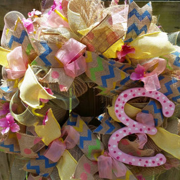 "Deco Mesh Wreath Girls Room Wall or Door Wreath with hand painted letter and several types of ribbon. 24+"" bedroom decor kids rooms nursery"