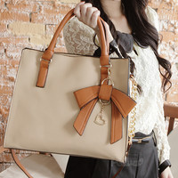 Unique cream Elegant Colorful Bow Handbag