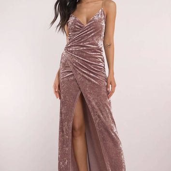 Split Ways Wrap Velvet Maxi Dress