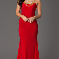 Long Open Back Jersey Formal Gown by Panoply