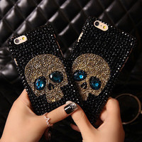Saphire Eye Skull Skeleton Diamond Case for iPhone 7 plus 7 4s 4 5s 5 se 5C 6S 6 plus Samsung s5