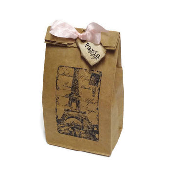 Paris Favor Bags with Pink Ribbon and Tags - Kraft Brown - Set of 10