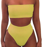 Hot Sexy pure color strapless off shoulder two piece bikini high waist Sapphire yellow