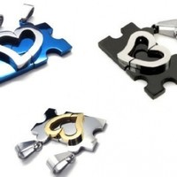 Couple Stainless Steel Silver & Gold Puzzle Heart Pendant with Necklaces and Jewelry Bags for Lover