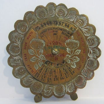 Perpetual 28 Years Brass Desk Calendar Painted Etched Flowers