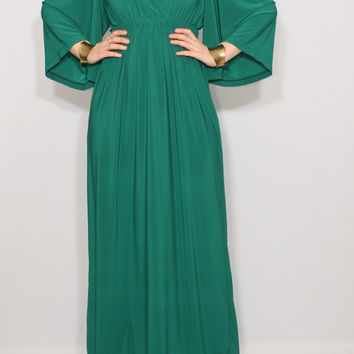 Emerald green dress Long dress Kimono dress Women Maxi dress