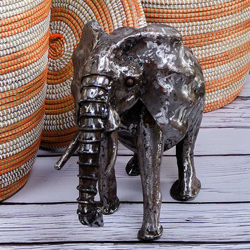 Small Oil Drum Elephant Sculpture
