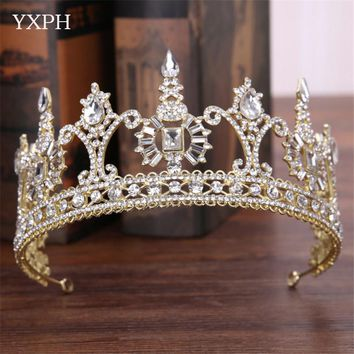 YXPH 2017 New Classic Tiara Bride Crown Headdress Baroque Crown Bridal Hair Jewelry Rhinestone Crown Wedding Hair Accessories