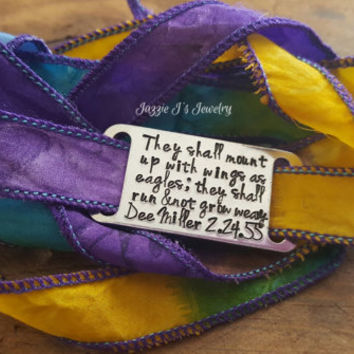 Hand Stamped Silk Wrap Bracelet, They Shall Mount Up With Wings As Eagles Wrap Bracelet, Runner Gift, Inspirational Gift, Motivational Gift