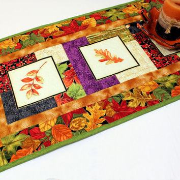 Autumn Leaves Table Runner Quilt, Orange, Green and Rust Quilted Table Runner for Fall