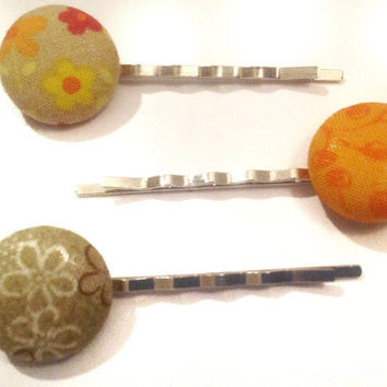 Brown and Orange Hair Pins, Fabric Covered Button Bobby Pins, Set of 3