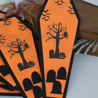 Halloween Cemetery Tags, Set of 10 Coffin Shaped Tags, Party Favor, Gift Tags, Treat Bag Decoration, Spooky Decor, Tombstones And Owl