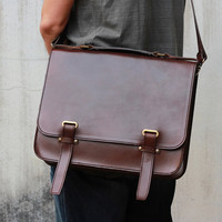 Handmade Leather Briefcase -- 'Zap Straps' Messenger Bag -- Full-size Leather Briefcase -- Leather Bags and Purses